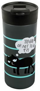 Moses Ed the cat thermos 450 ml grey