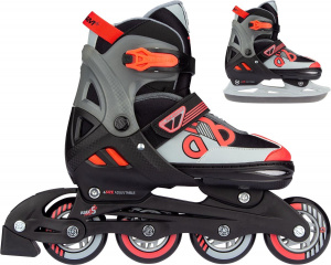 Nijdam patins Combo Red Raiderjunior noir/rouge/gris