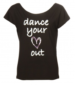 Papillon sportshirt dance your heart out dames zwart