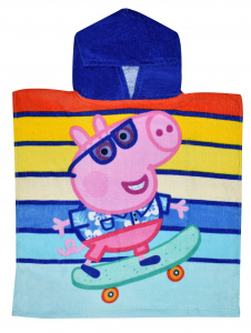Nickelodeon badponcho Turtley Cool Peppa Pig 100 cm cotton blue