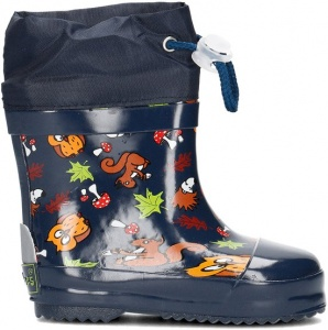 Playshoes short rain boots forest animals blue