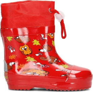 Playshoes short rain boots forest animals red