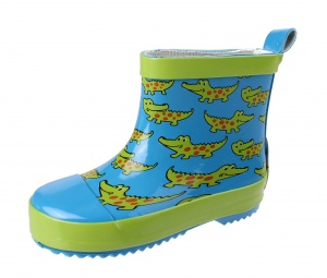 Playshoes short rain boots crocodiles blue/green