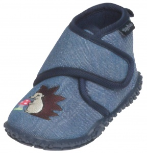 Playshoes pantoffels egel junior blauw