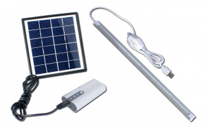 PowerPlus powerbank solar met lamp wit/grijs 6-delig