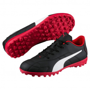 Puma artificial turf football boots junior leather black/white/red