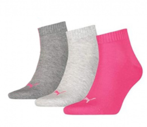 Puma socks Quarter women cotton pink/grey/light grey 3 pair
