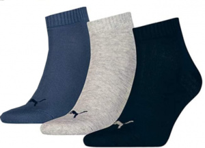 Puma socks Quarter Training cotton black/grey/blue 3 pair