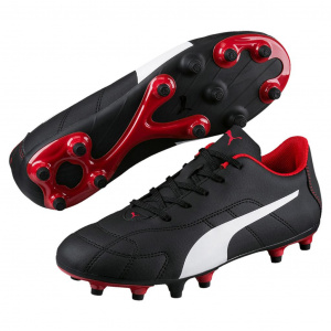 Puma soccer shoes Classico FGjunior leather black/white/red