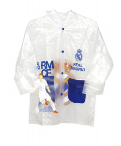 Real Madrid raincoat junior PVC transparent/blue one size