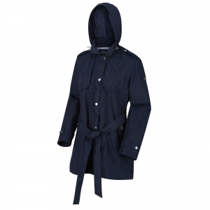 Regatta Chaqueta larga impermeable para damas Garbo azul marino