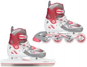 Nijdam schaats/skate-combinatie junior wit/roze
