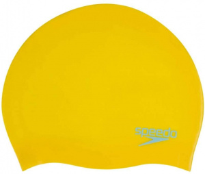 Speedo swimming cap shaped junior silicone yellow one-size