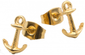 Suck UK earrings anchor ladies 0.7 x 1 cm stainless steel gold