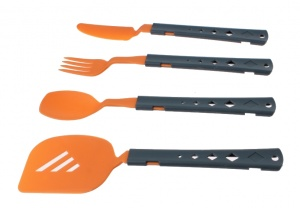 Summit four-part plastic cutlery set orange
