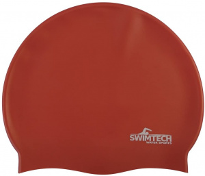 SwimTech badmuts siliconen one-size rood