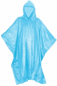 TOM rain poncho with hood unisex blue one size