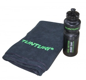 Tunturi original fitness machine towel and bottle set black
