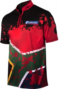 Unicorn dartshirt Devon Petersen heren zwart/rood