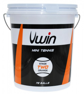 Uwin tennisballen Stage 2 junior rubber/vilt oranje 72 stuks
