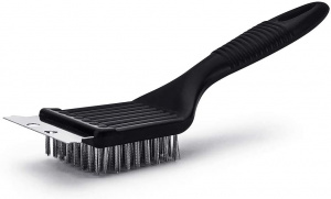 BBQ barbecue brush and scraper stainless steel/plastic black 20 cm