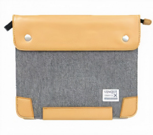 Venque laptop bag Zipsnap 27 x 22 x 1 cm grey/brown leather