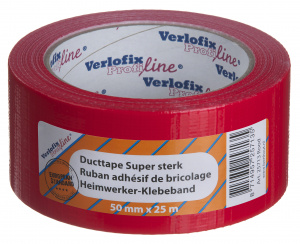 Verlofix duct tape supersterk 50 mm x 25 m PVC rood