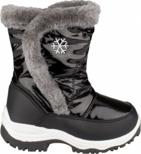 Winter-Grip Snowboots Junior Lak Bont Zwart / Grijs