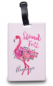 Worldpack bagagelabel Flamingo 11 cm wit/roze