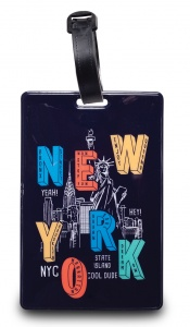 Worldpack bagagelabel New York City 11 cm zwart/multicolor