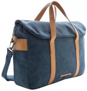 XD Collection laptoptas 16 liter canvas blauw/bruin