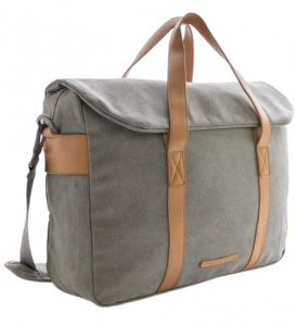 XD Collection laptoptas 16 liter canvas grijs/bruin