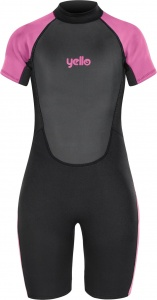 Yello wetsuit Basking shorty 2 mm meisjes zwart/roze maat LXT