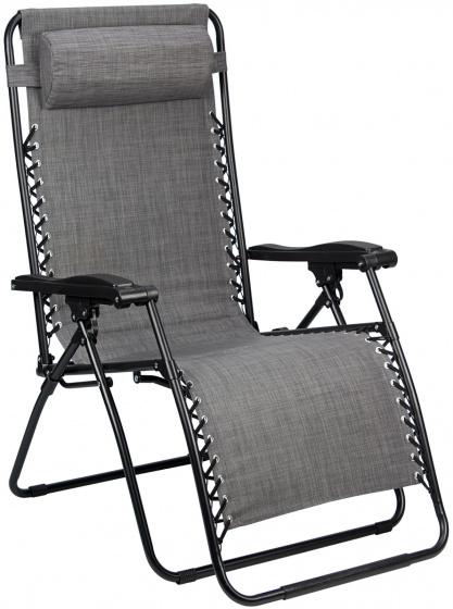 Abbey Camp campingstoel Chaise Longue IV 90 x 65 x 112 cm grijs