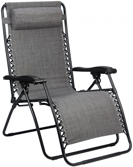 Abbey Camp campingstoel Chaise Longue Padding 90 x 75 x 112 cm grijs