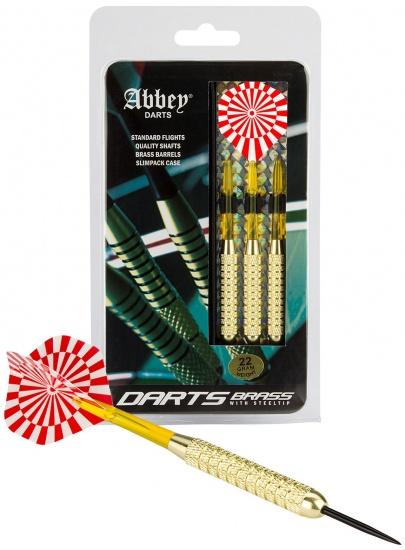 Abbey Darts Dartset Brass Steeltip 22 gram rood/wit