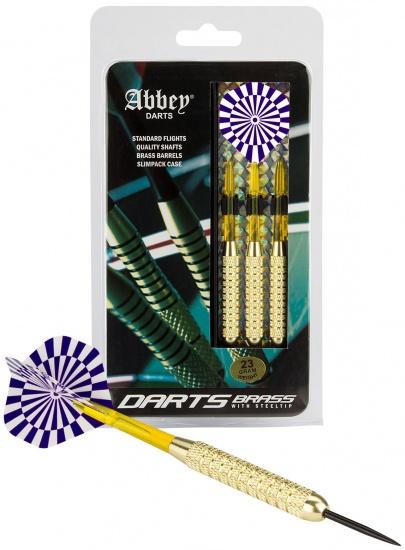 Abbey Darts Dartset Brass Steeltip 23 gram blauw/wit