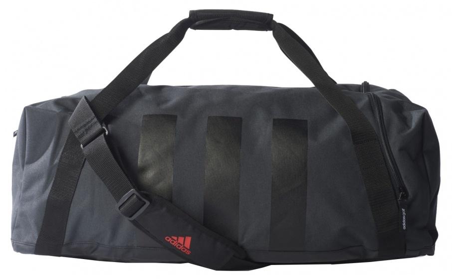 adidas 3 Stripes duffeltas grijs-zwart 30 x 62 x 28 cm