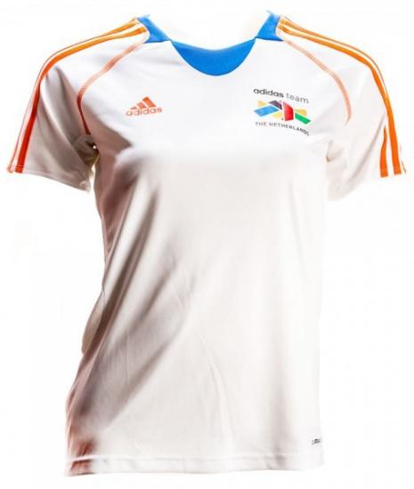 Adidas Team Nederland Shirt dames wit-oranje maat XXS