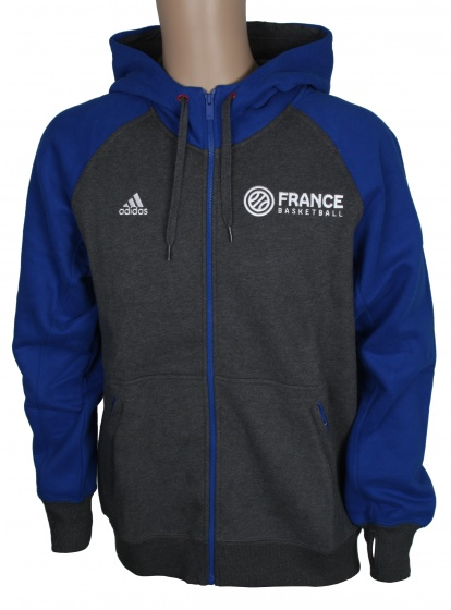 adidas Hoody France Basketball heren grijs-blauw maat XXL