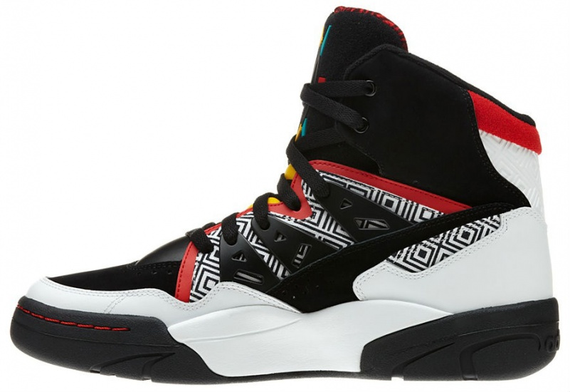 MUTOMBO HIGH TOP HEREN SNEAKER ZWART ROOD WIT MAAT 46