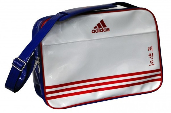 adidas schoudertas taekwondo wit-blauw 28 liter
