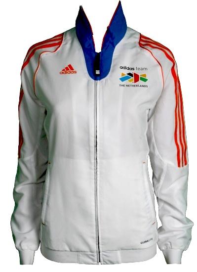 Adidas Sportjack Team Nederland dames wit-oranje maat M