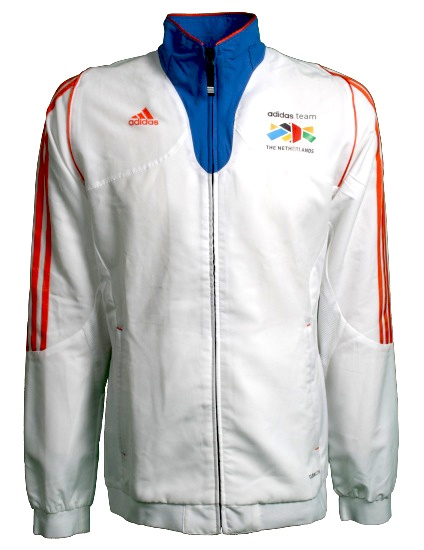 Adidas Sportjack Team Nederland heren wit-oranje maat S