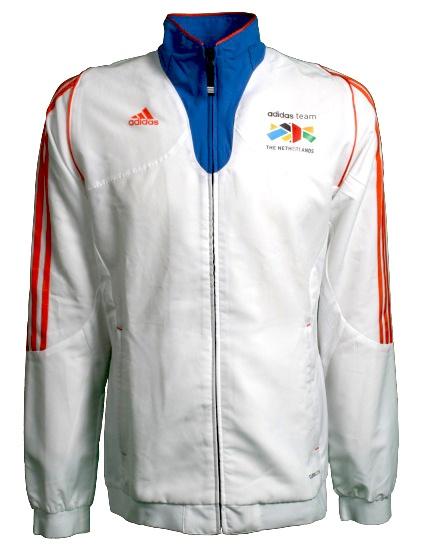 Adidas Sportjack Team Nederland heren wit-oranje maat XXL