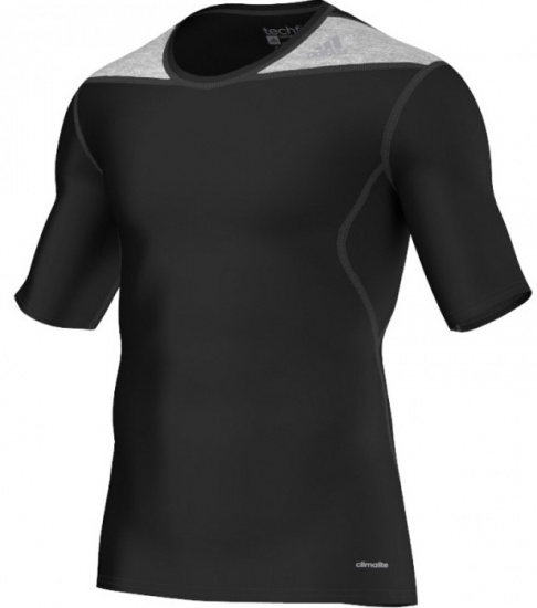 Adidas Thermoshirt Techfit KM heren zwart-grijs maat XS