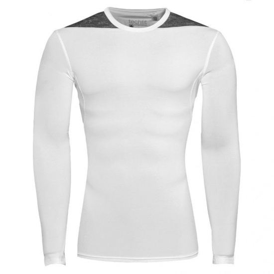 Adidas Thermoshirt Techfit LM heren wit-grijs maat XS