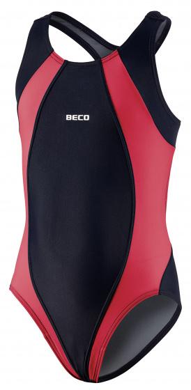 Beco badpak meisjes polyamide rood/zwart maat 152