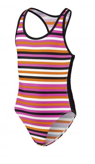 Beco badpak meisjes polyester/elastaan oranje/zwart maat 140