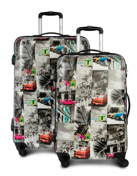 Fabrizio kofferset Cuba 61-96 liter beige met print 2 delig